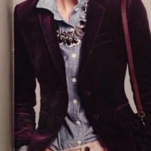 J. Crew Purple Velvet Schoolboy Blazer
